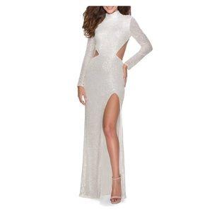 New! La Femme Sequin Cutout Dress